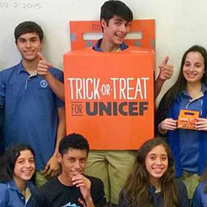 A group of sixth-graders gets in the Trick-or-Treat spirit