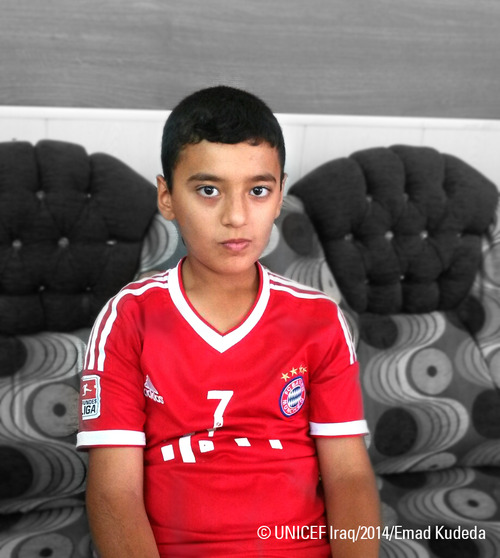 11-year-old Abdelrahman Qaid Mofuk, who fled with his family from Mosul, hopes to return to his hometown and finish his school exams.