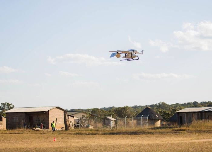 A UNICEF-supported drone takes off near Lifupa health center in Malawi in 2019.
