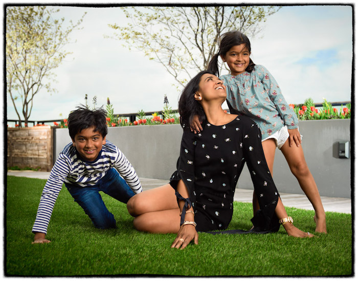 UNICEF US New York board member Purvi Padia with her children Rehan (left) and Reven in 2018.