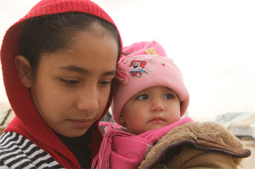 Syrian refugees in Za'atari refugee camp