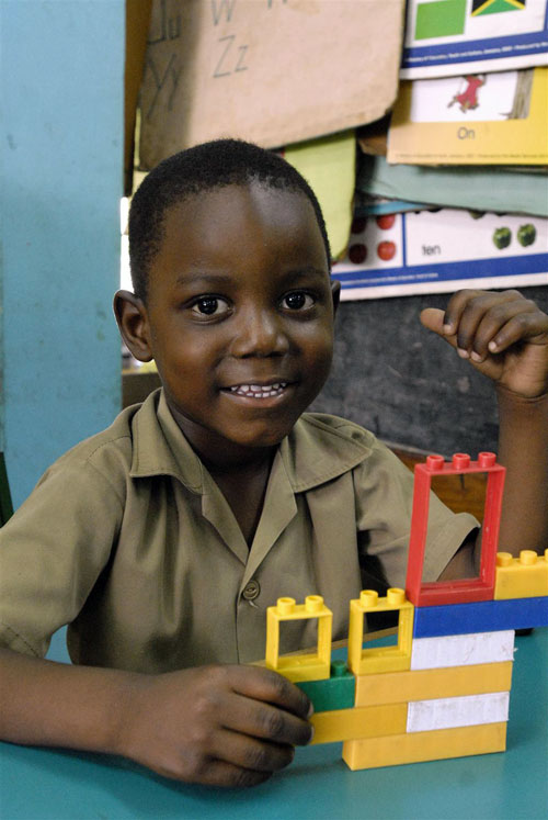 Boy at UNCEF-supported Denham Town school in Jamaica