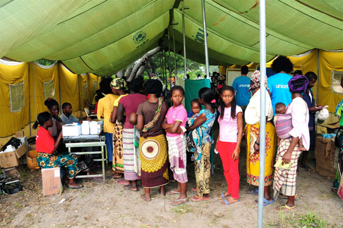 Displaced persons from the floods in Mozambique