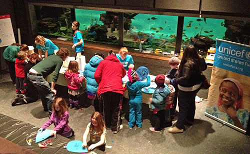 Volunteers and visitors at the Franklin Park Zoo