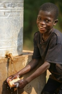 A handwashing station at a UNICEF-supported school in Lobaye Province, Central African Republic.