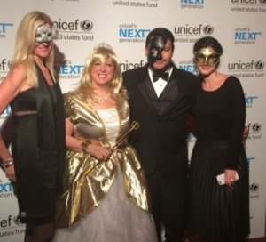 Brandon Pena, U.S. Fund for UNICEF President & CEO Caryl M. Stern, and other guests at the UNICEF Masquerade Ball