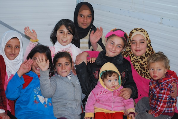Syrian children at the UNICEF-supported Za'atari refugee camp in Jordan.