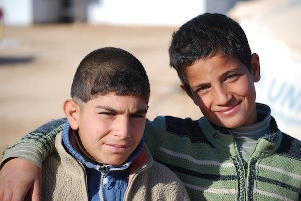 Two Syrian boys at the Za'atari refugee camp in Jordan.