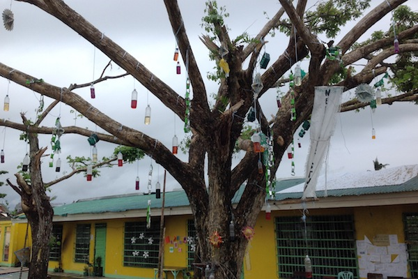 A Christmas tree in front of Palo Central Elementary school, Tacloban, Philippines.