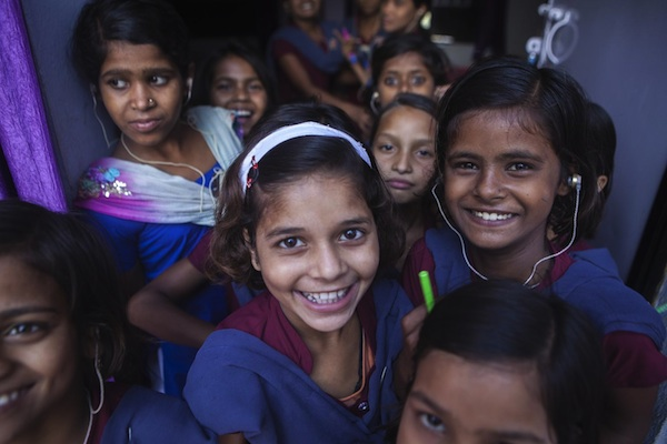 Girls with a hearing disabilities at a school in Bihar, India. UNICEF supports initiatives that provide equal opportunity to children living with disabillities.