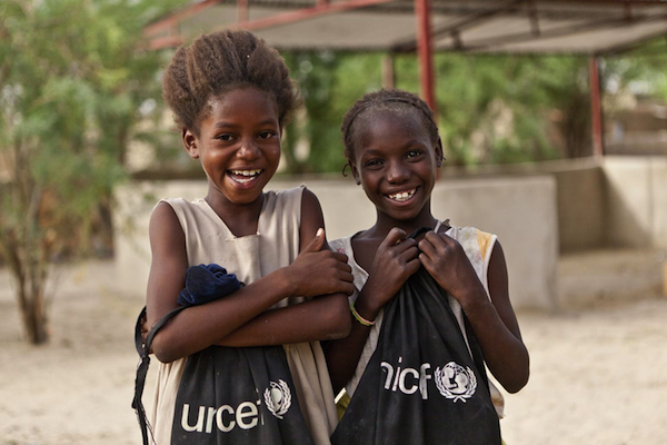 Two girls attend school at Alpha Moya school in Timbuktu, Mali, a facility that has been re-furnished with help from UNICEF.