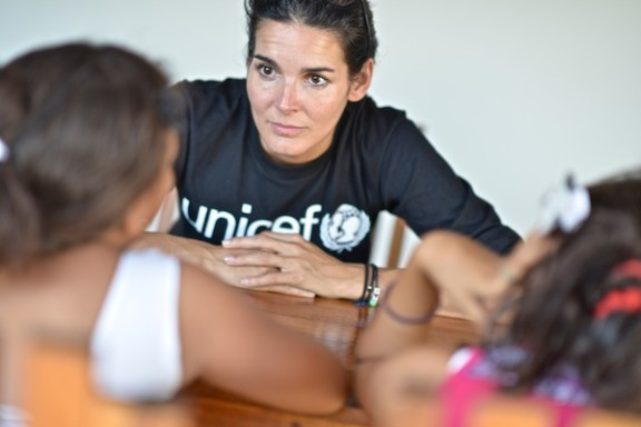 In Granada, Nicaragua, UNICEF Ambassador Angie Harmon meets with two eleven-year-old girls who experienced sexual abuse.
