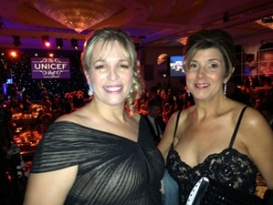 Julie Burke, left, and Anita Vaccaro, right, at the UNICEF Ball in Los Angeles.