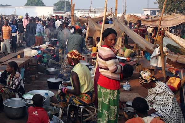 A makeshift market set up within a camp for the displaced near the Bangui airport in the Central African Republic.