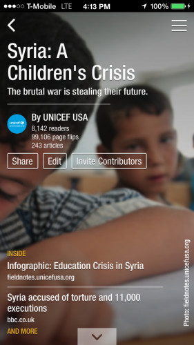 UNICEF USA's Syria: A Children's Crisis magazine. Flipboard magazines can be read on phones, tablets or desktop computers.
