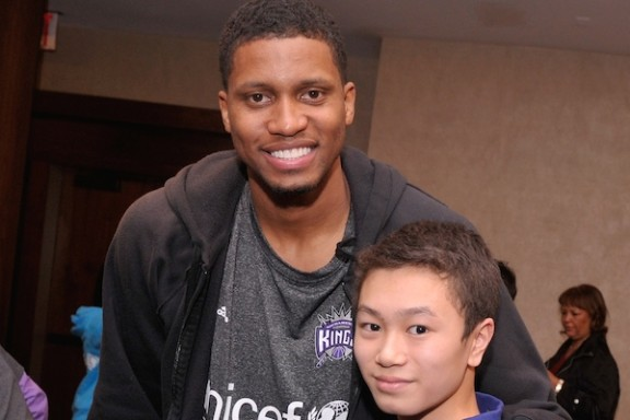 Rudy Gay and a UNIS student after the PSA shoot.