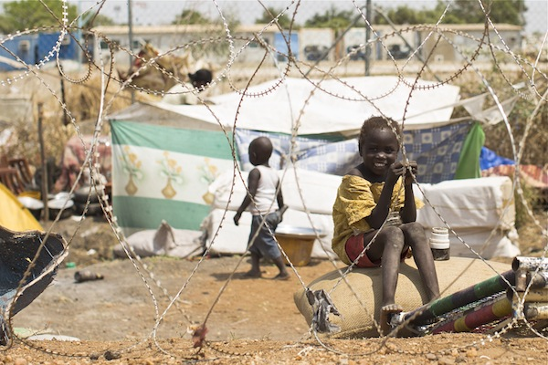 A girl, one of 21,568 displaced people, at the United Nations compound in Malakal, South Sudan.