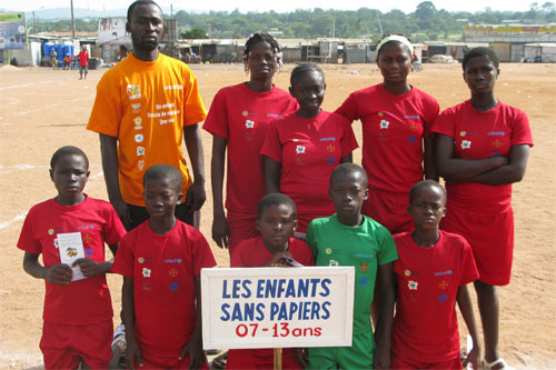 In Ivory Coast children used soccer to tell adults to register child births and respect children's right to an education.