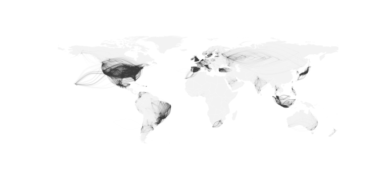 Human mobility estimated from the aggregated movements of Twitter users.